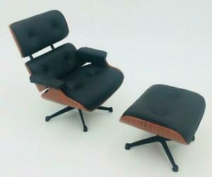 Zen Miniature Designers Chair 1/12 figure Eames Lounnge Chair & Otto man