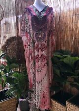 Plus Size Pink Mix Maxi Very Long Sheer Embellished Kaftan Size 16-18-20 OSFA