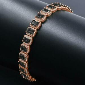 "Emerald Cut Black Diamond Statement 8""inch Mens Bracelet 14k Rose Gold Over"