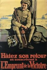1918 Original French Canadian WWI Victory Bond Poster, Hatez Son Retour RARE