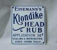 VINTAGE KLONDIKE HEAD RUB PORCELAIN MEDICINE SIGN ADVERTISING RARE GAS STORE AD