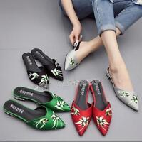 Stickerei Blumen Slipper Schuhe Damen Halbschuhe Pantoletten Loafers Mules NEU