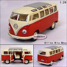 Kinsmart 1:24 1/24 Volkswagen VW 1962 Van Samba Micro Bus Diecast Model Red 6+