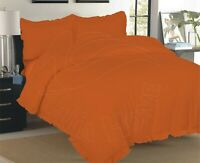 ORANGE FRILLED PLAIN DYED DUVET COVER SET WITH PILLOWCASES SINGLE DOUBLE KING