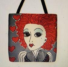 Queen of Hearts Helena Bonham Carter inspired ALICE artist tote purse 16 x 16