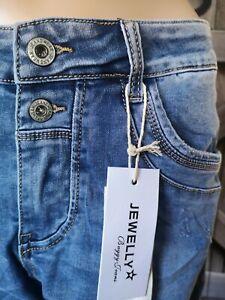 Jewelly Damen Jeans Baggy Boyfriend coole Knopfleiste blau Risse 34 36 38 40 42