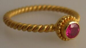 granulated 22K gold ring 4mm faceted ruby size 8.0