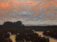Wetlands Flower Old Farm Field  Nature Impressionism Art Oil Painting Landscape