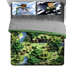 Minecraft 7pc Queen Kids Bed, Reversible Comforter, Shams, Pillow, Sheet Set