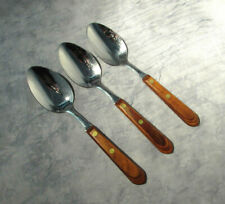 TOWN & COUNTRY (Red Cherry)-THREE SOUP SPOONS-Washington Forge-Wood/Stainless