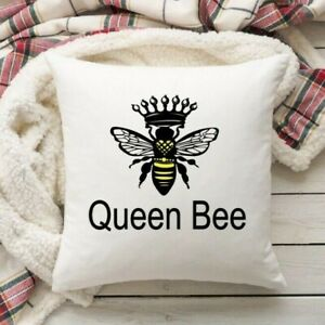 Queen Bee Cushion Cover - Personalised Bumble Bee Pillow Cover - 40 x 40 cm