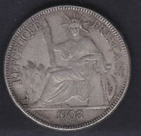 CB2706) Indochina 1908 Silver  -1-piastre-1908-XF-French-Indochina- Crown Sized