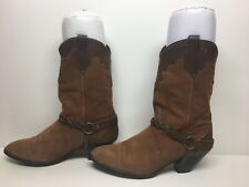 WOMENS UNBRANDED HARNESS COWBOY DARK BROWN BOOTS SIZE 8.5 M