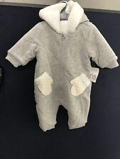 Baby Velour Pram Suit/snow Suit Cream  And Grey Brand New 0-3 Months
