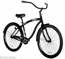 "Black 29"" Cruiser Bike Men's Bicycle Genesis Onyx Aluminum Frame Fat Tire"