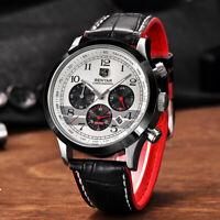 BENYAR Pilot Japanese Quartz Watch Date Buckle Mens Wristwatch Genuine Leather