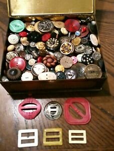 VINTAGE & MIXED BUTTONS Lot HINGED TIN Military RHINESTONES CELLULOID Figural