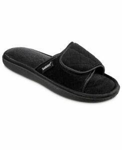 ISOTONER quilted adjustable women's slide slippers Memory Foam BLACK-XL(9.5-10)