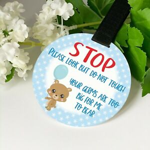 ND1 Boys Blue Teddy Do not touch the baby Germs Pram Tag car seat sign