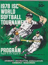 1978 ISC WORLD SOFTBALL TOURNAMENT sports program