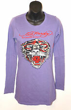 ED HARDY CHRISTIAN AUDIGIER Long Sleeve Shirt RHINESTONE TIGER Purple Red Bling