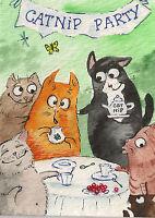 PRINT of ACEO WATERCOLOR PAINTING RYTA TUXEDO CAT KITTEN TABBY CATNIP TEA PARTY
