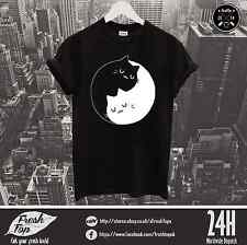 Yin And Yang T Shirt Top Awesome Funny Black White Cat Lovers Logo Gift Present
