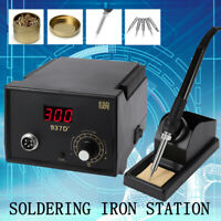 937D+ Electric Iron Soldering Station SMD Welder Welding w Stand Sponge ESD 110V