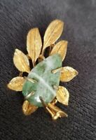 Vintage BSK Gold toned Leaf green stone Brooch Pin Costume Jewellery autumnal
