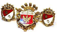 Coro Regal 1940s  Enamel Pendant Brooch Earrings Clips Demi Perure Jewelry Set