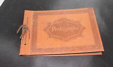 Vintage LEATHER Photo Album Embossed Photograph Scrapbook - Mid century