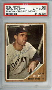 1962 Topps SIGNED # 20 Rocky Colavito PSA/DNA authenticated Detroit Tigers