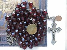 Late 1800's Antique Garnet Glass Beads Rosary w/ Rare Tiny Medal & St Benedict