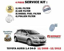 FOR TOYOTA AURIS 1.4 D4D DIESEL 2008-> OIL AIR FUEL POLLEN 4 FILTER SERVICE KIT