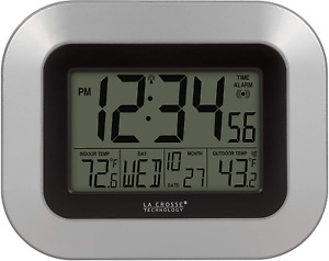 Atomic Digital Wall Clock with Indoor and Outdoor Temperature Silver