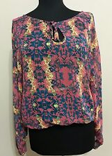 Princess Vera Wang Women's Top Blouse Size M Multicolored Long Sleeve Floral