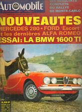 L'AUTOMOBILE 262 1968 RALLYE MONTE CARLO GP AFRIQUE SUD BMW 1600 Ti SAMURAI BRE