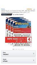 3M Filtrete 14x24x1 1000 Micro Allergen Air Filter Qty 4