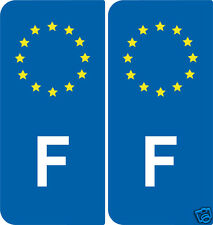 2 Stickers style immatriculation Europe France