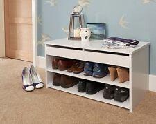 Modern White Budget Lift Up Shoe Storage Hallway Shelving Cabinet 2 Shelves