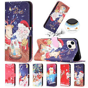 Christmas Leather Case For iPhone 13 Pro Max 12 11 XR XS Flip Wallet Stand Cover