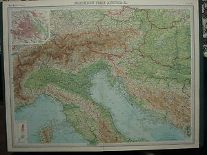 1920 LARGE MAP ~ NORTHERN ITALY AUSTRIA VIENNA CITY PLAN TRIESTE HUNGARY