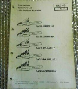 SACHS DOLMAR CHAINSAW Spare Parts List Manual 112 114 117 119 120