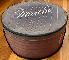 Vintage Women'S Marche Brown Stripe Hat Box