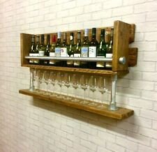 Wine Rack, Home Bar, Wine Glass Holder, Display Shelves , Industrial Rustic Wood