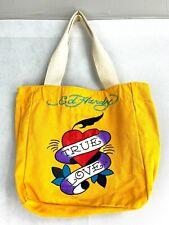Ed Hardy True Love Heart Cotton Canvas Yellow Shopper Tote Bag