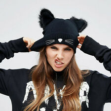 Fashion Punk Girl Women Devil Cat Ear Knit Beanie Hat Cap Winter Warmer Black AY