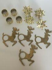 Christmas Napkin Ring Holders Table Decor 12 Gold Brass Reindeer & Poinsettia