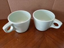 2 Boonton ware Coffee Mugs Cups green melamine VTG