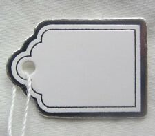 100 Small White Silver Swing Tags Labels Retail Jewellery String Strung Price